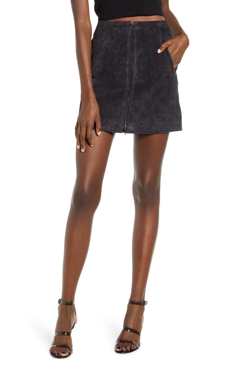 BLANKNYC Suede Miniskirt, Main, color, 001