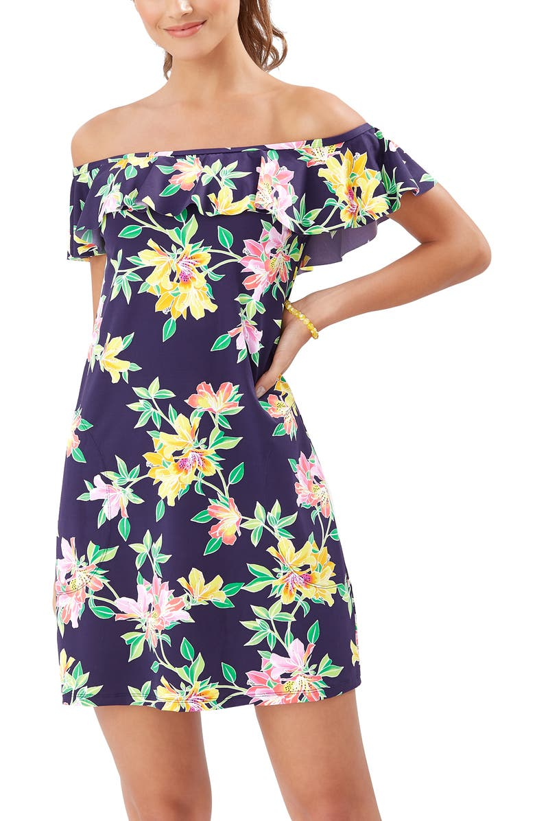 TOMMY BAHAMA Sun Lilies Off the Shoulder Ruffle Spa Dress, Main, color, MARE NAVY