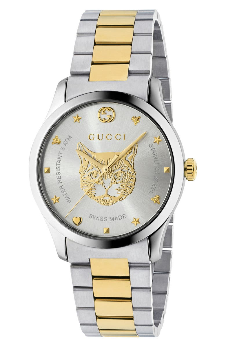 GUCCI G-Timeless Bracelet Watch, 38mm, Main, color, SILVER/ GOLD