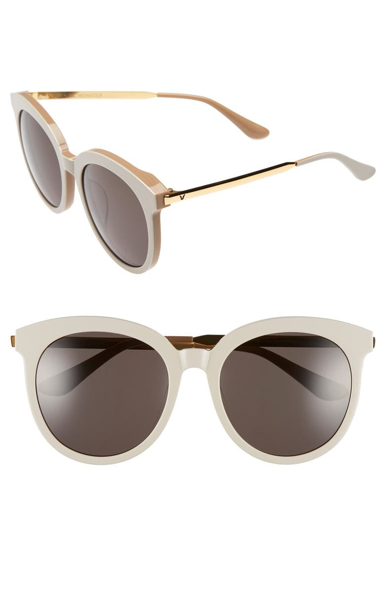 GENTLE MONSTER 56mm Round Sunglasses, Main, color, GREY/ GOLD