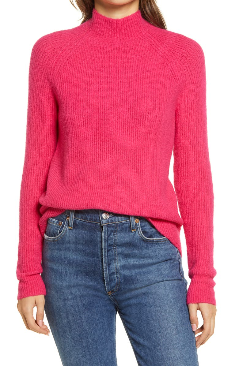 HALOGEN<SUP>®</SUP> Mock Neck Sweater, Main, color, PINK ELECTRIC