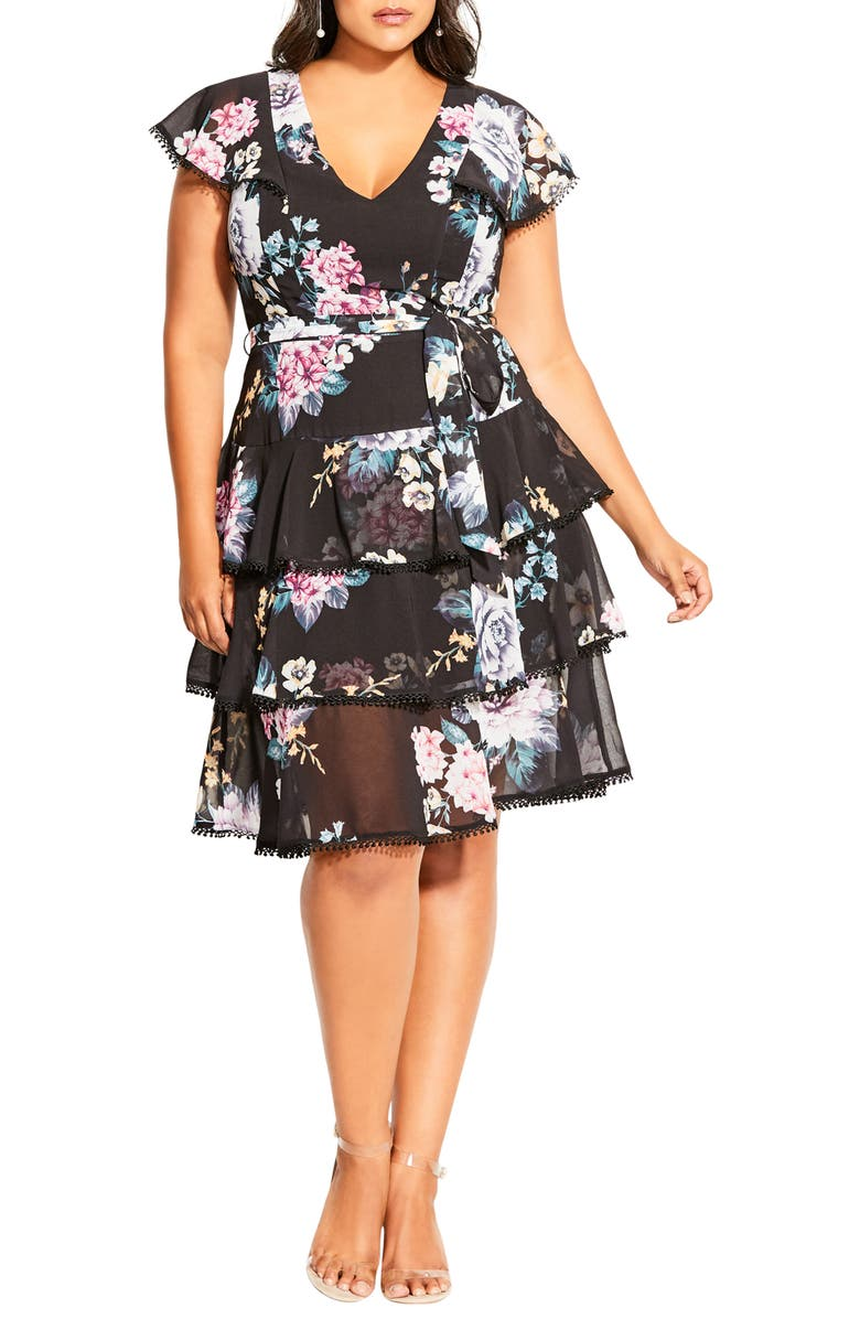 CITY CHIC Summer Blooms Tiered Ruffle Dress, Main, color, 001
