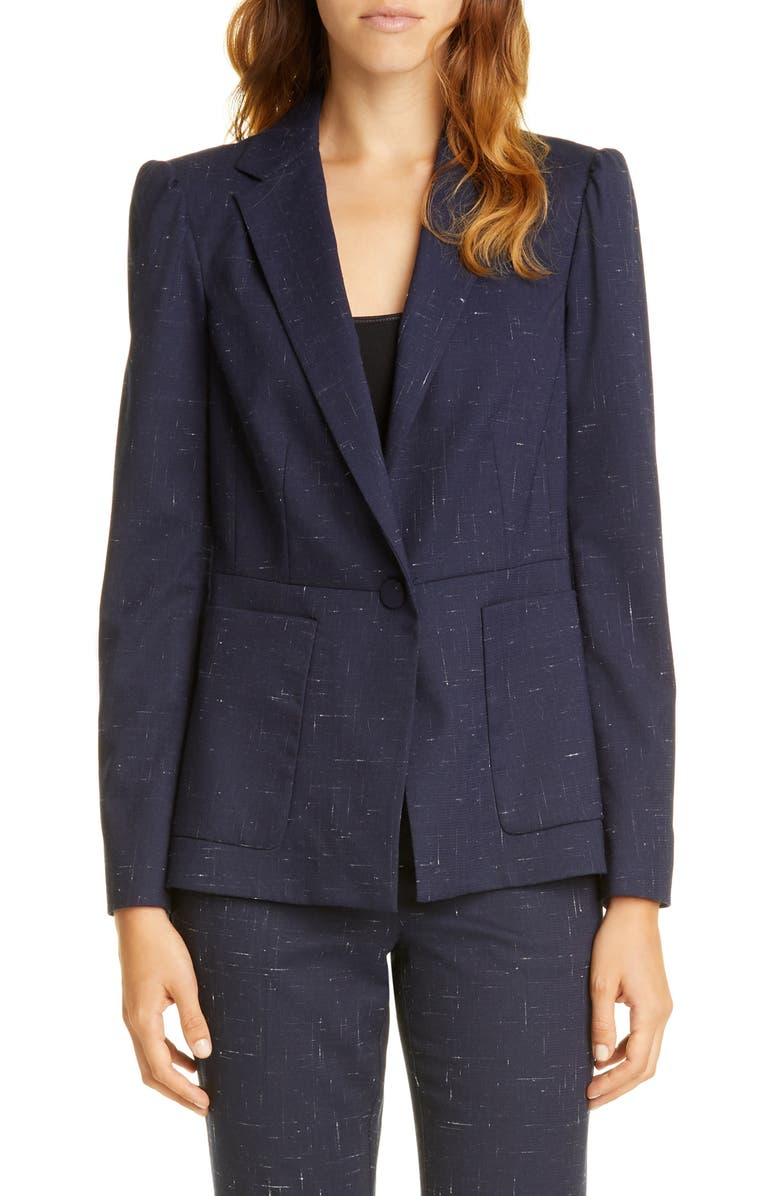 TAILORED BY REBECCA TAYLOR Puff Sleeve Crosshatched Wool Blend Jacket, Main, color, 410