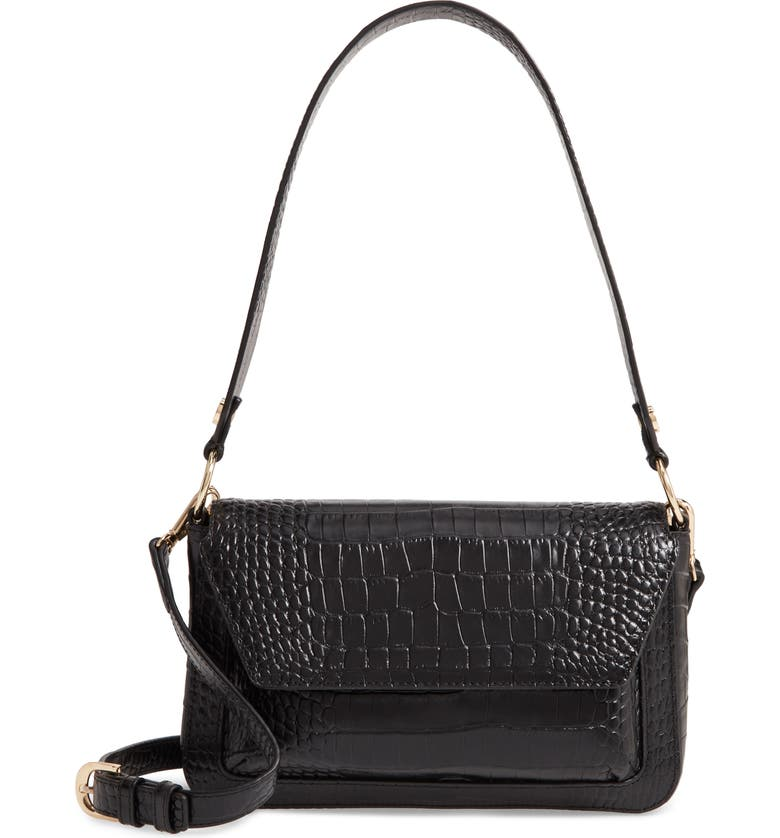 NORDSTROM Stella Croc Embossed Leather Shoulder Bag, Main, color, 001