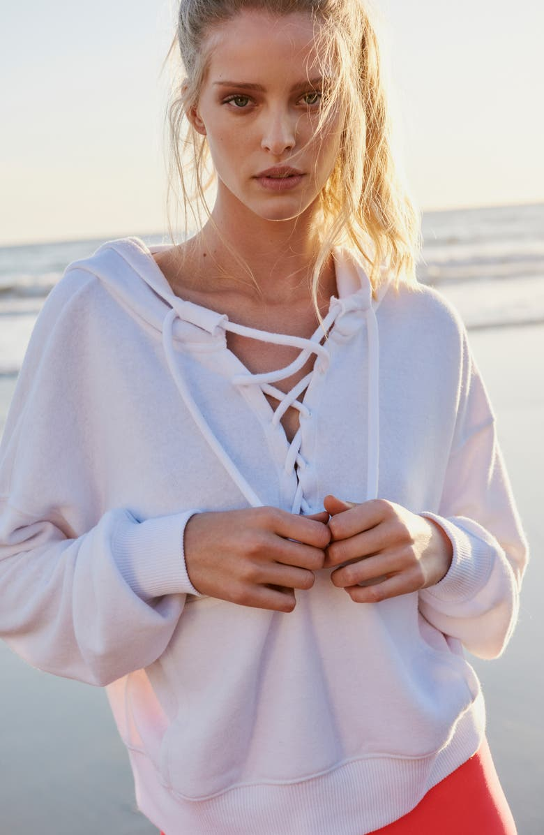 FREE PEOPLE FP MOVEMENT Believe It Lace-Up Hoodie, Main, color, WHITE