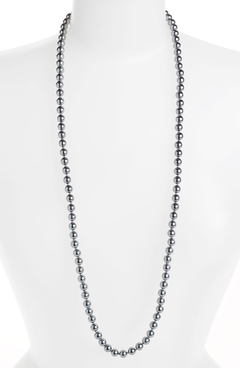 GIVENCHY Long Glass Pearl Necklace, Main, color, 020