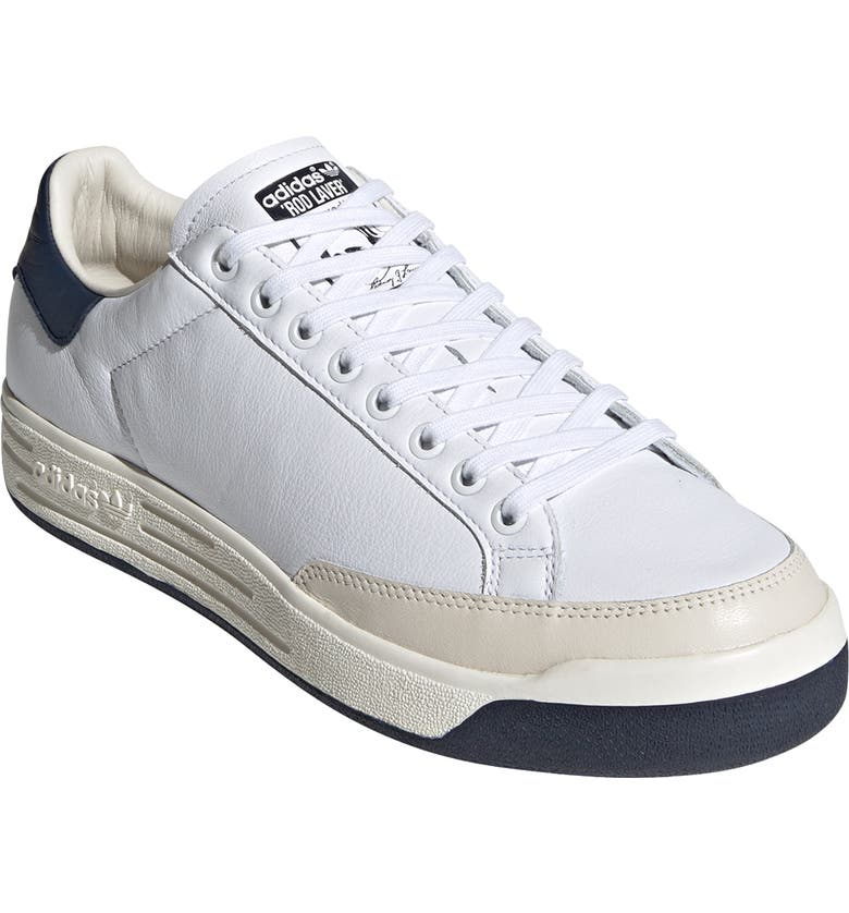 ADIDAS Rod Laver Vintage Leather Sneaker, Main, color, WHITE/ NAVY/ OFF WHITE