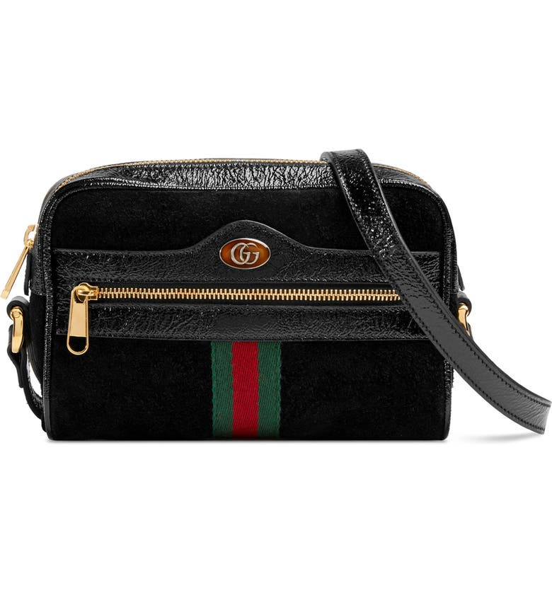 GUCCI Ophidia Small Suede & Leather Crossbody Bag, Main, color, 005