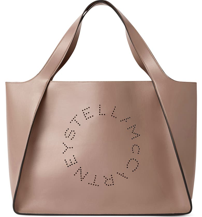 STELLA MCCARTNEY Perforated Logo Faux Leather Tote, Main, color, MOSS