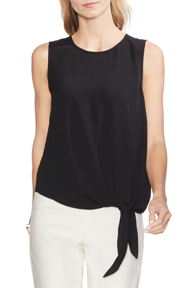 VINCE CAMUTO Sleeveless Tie Front Blouse, Main, color, 006