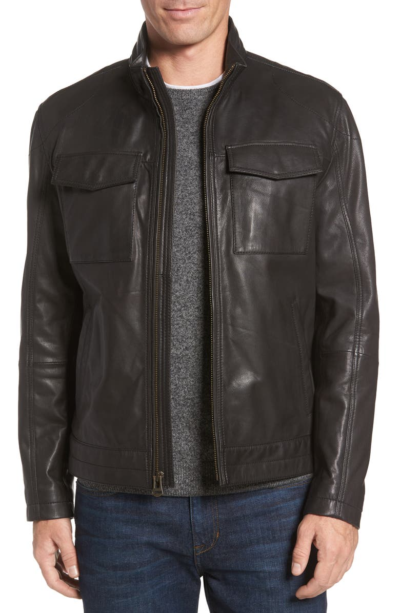 COLE HAAN Washed Leather Trucker Jacket, Main, color, BLACK