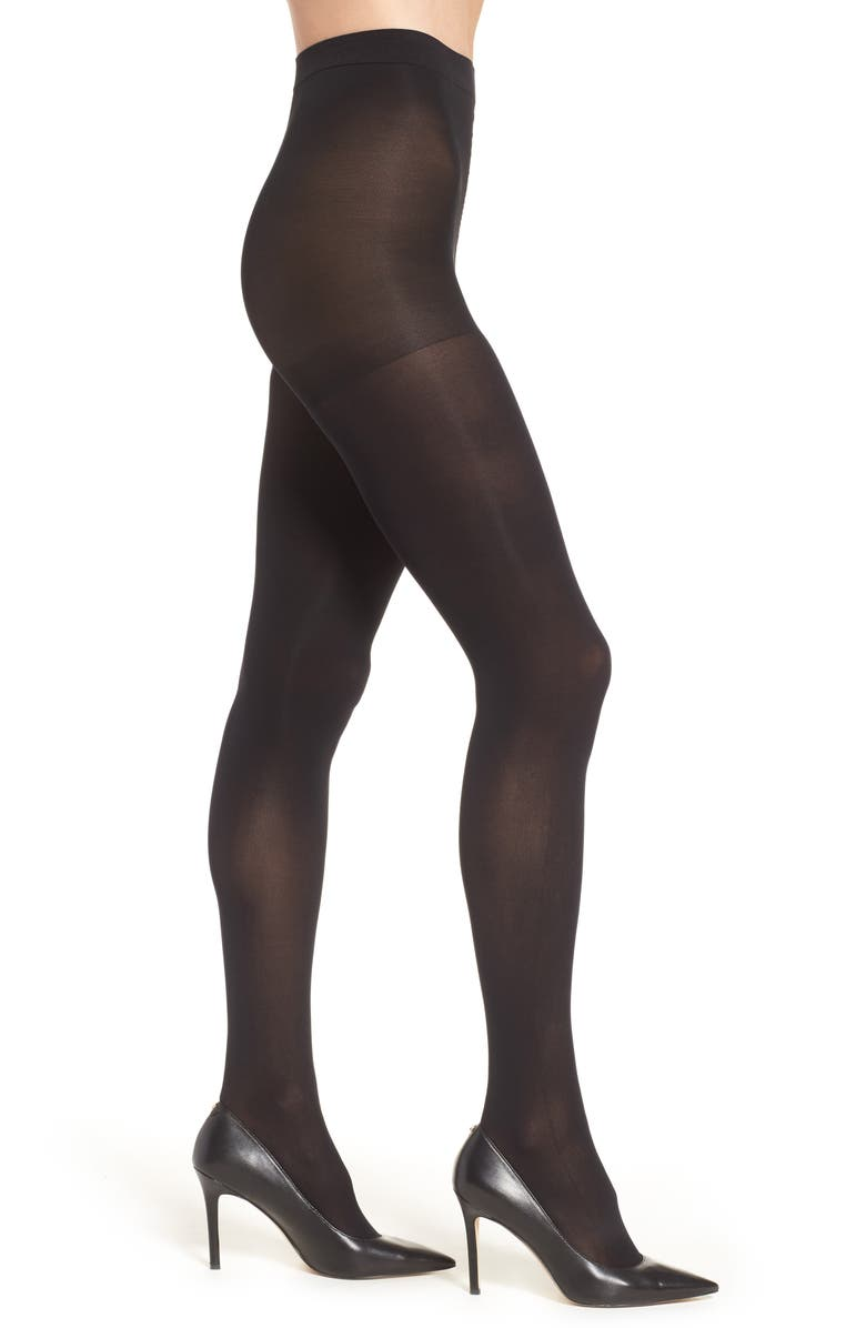 NORDSTROM Opaque Control Top Tights, Main, color, BLACK