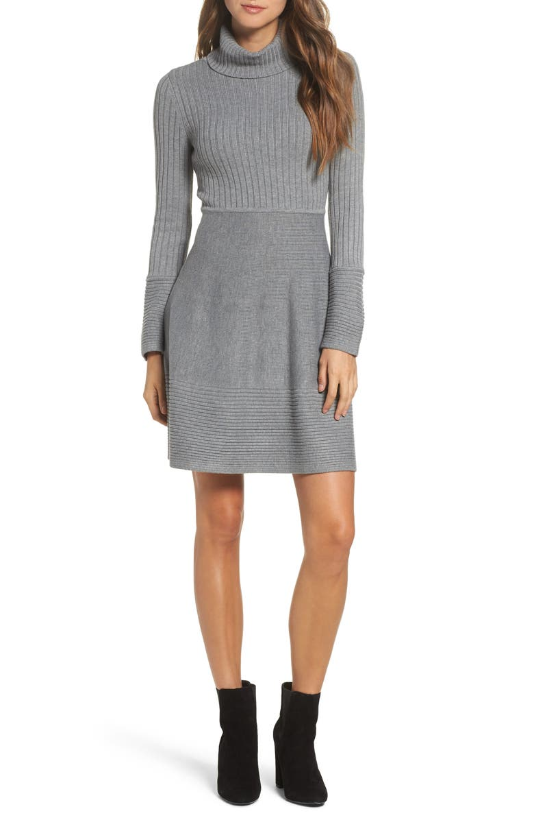 ELIZA J Turtleneck Sweater Dress, Main, color, 030