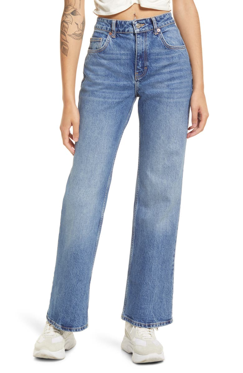 TOPSHOP Relaxed Flare Leg Jeans, Main, color, MID BLUE