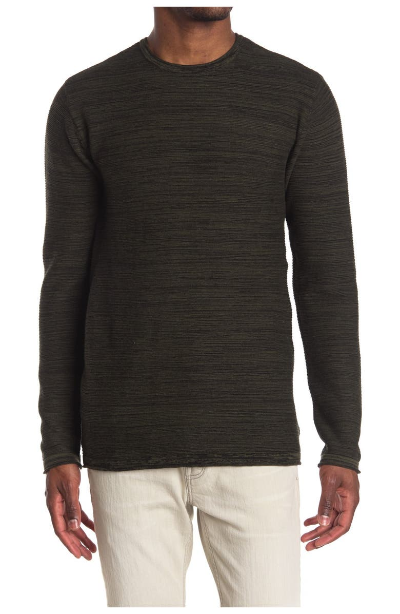 PX Striped Pullover Sweater, Main, color, OLIVE HEATHER