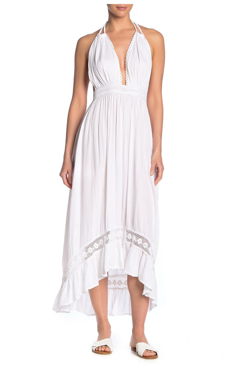 BOHO ME Braided Straps Cover-Up High/Low Maxi Dress, Main, color, WHITE