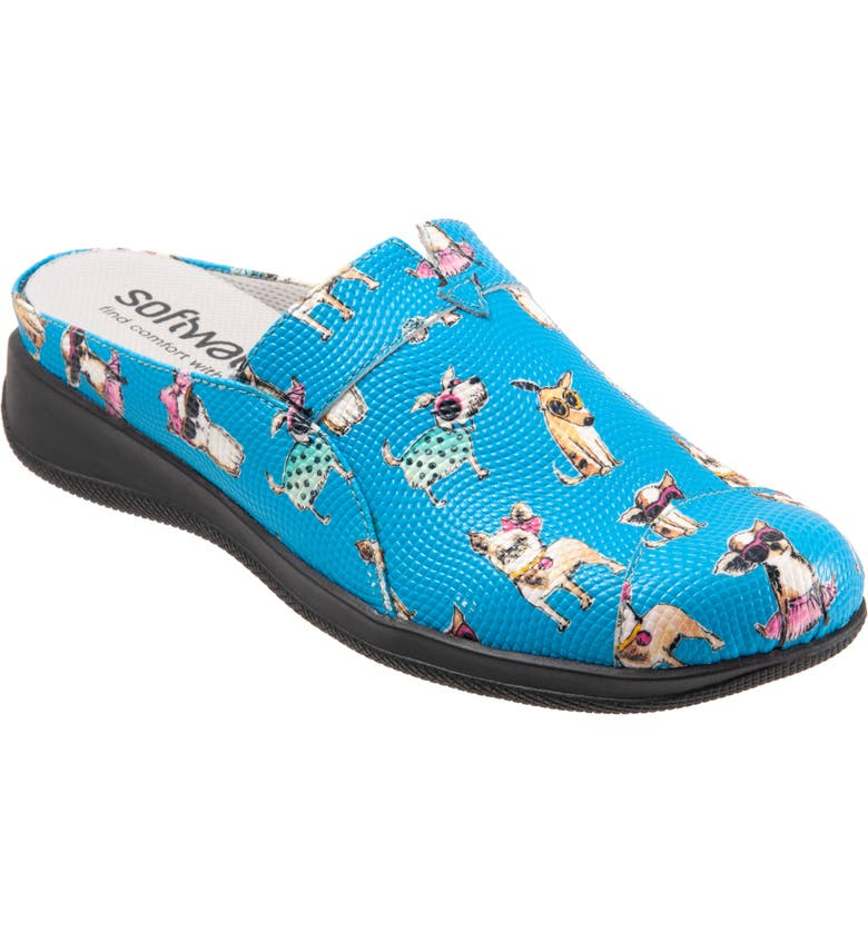 SOFTWALK<SUP>®</SUP> 'San Marcos' Woven Clog, Main, color, BLUE DOGS LEATHER