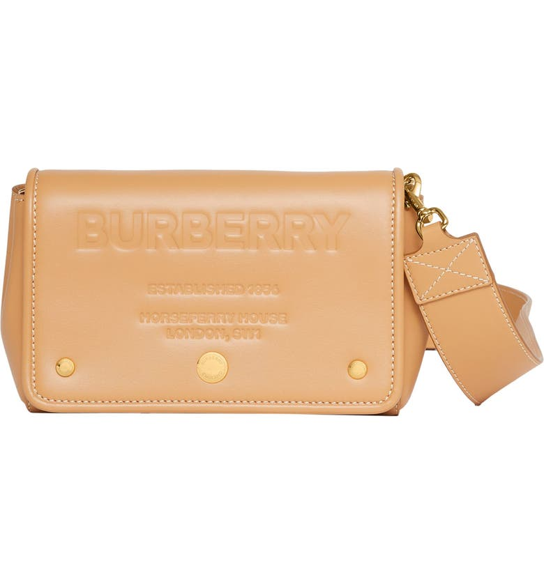 BURBERRY Hackberry Horseferry Debossed Leather Crossbody Bag, Main, color, WARM SAND