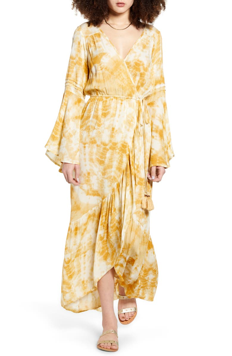 BAND OF GYPSIES Zion Long Sleeve Maxi Dress, Main, color, GOLD IVORY