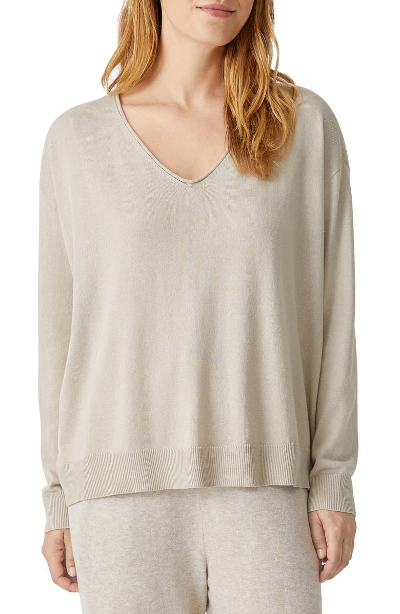 EILEEN FISHER V-Neck Cotton & Tencel<sup>®</sup> Lyocell Blend Sweater, Main, color, MAPLE OAT