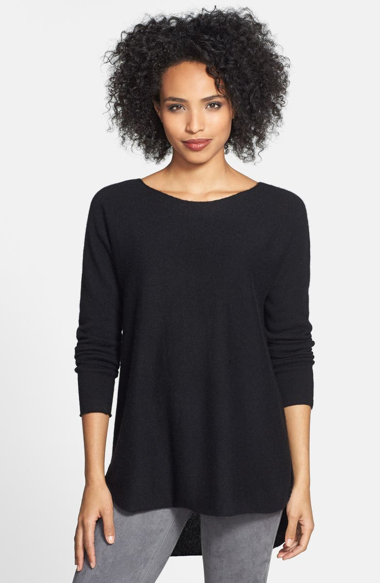 HALOGEN<SUP>®</SUP> High/Low Cashmere Tunic Sweater, Main, color, 001