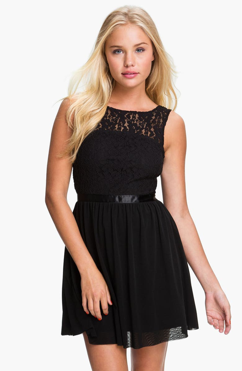 FRENCHI <sup>®</sup> Lace Bodice Dress, Main, color, 001