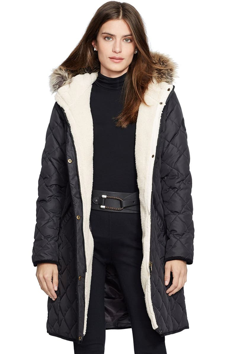 LAUREN RALPH LAUREN Faux Fur Trim Down & Feather Fill Parka, Main, color, 001