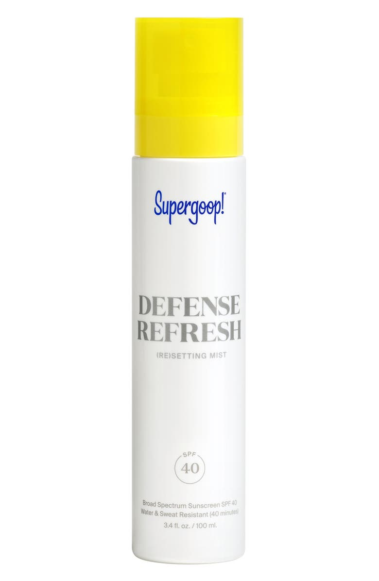 SUPERGOOP!<SUP>®</SUP> Defense Refresh (Re)setting Mist SPF 40 Sunscreen, Main, color, 000