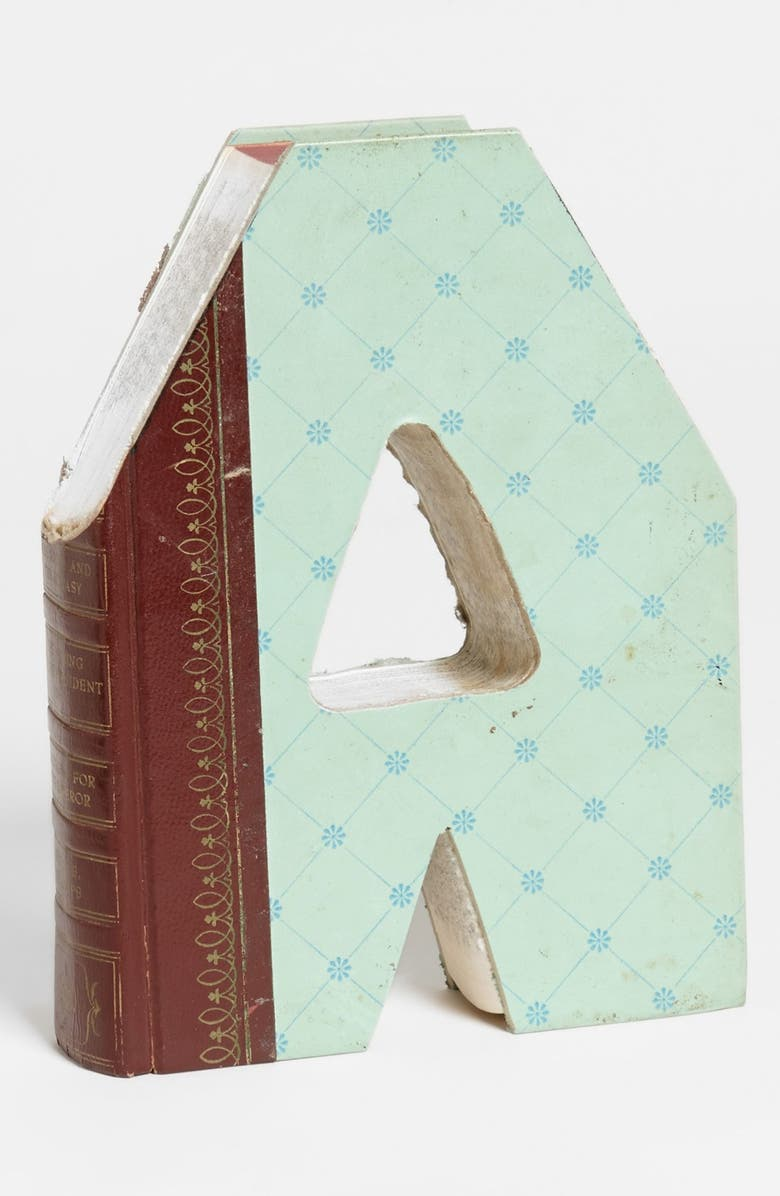 SECOND NATURE BY HAND 'One of a Kind Letter' Hand-Carved Recycled Book Shelf Art, Main, color, A