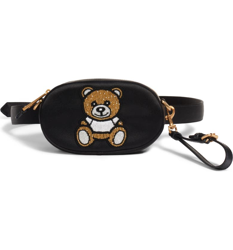 MOSCHINO Beaded Teddy Satin Pouch, Main, color, 001