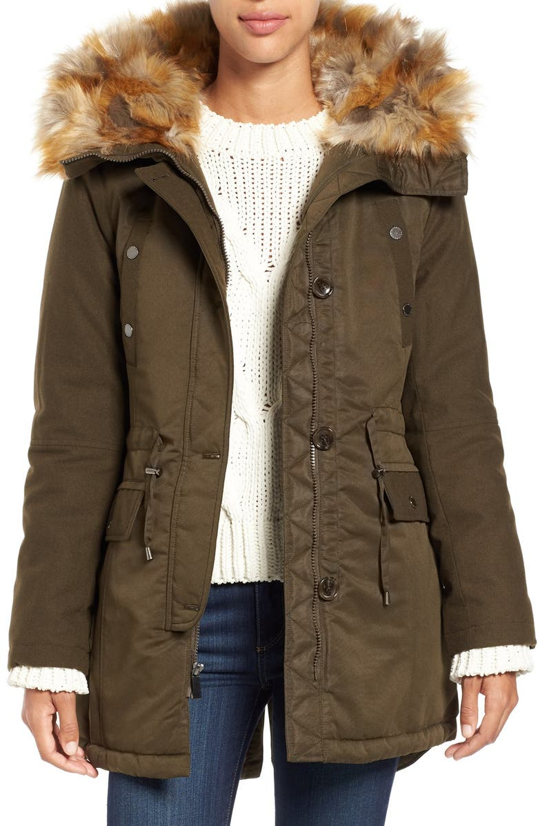 FRENCH CONNECTION Hooded Parka with Faux Fur Trim, Main, color, TURTLE