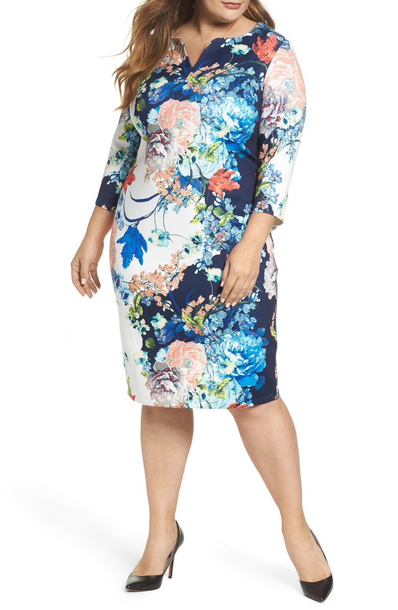 ECI Floral Jersey Sheath Dress, Main, color, 436