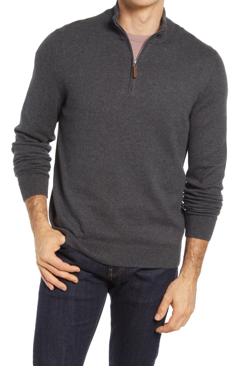 NORDSTROM Men's Shop Half Zip Cotton & Cashmere Pullover, Main, color, 021
