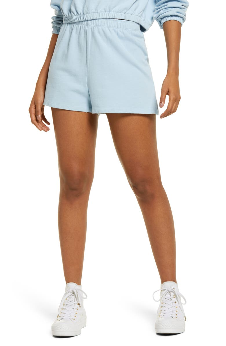 BP. Organic Cotton French Terry Pull-On Shorts, Main, color, BLUE CASHMERE