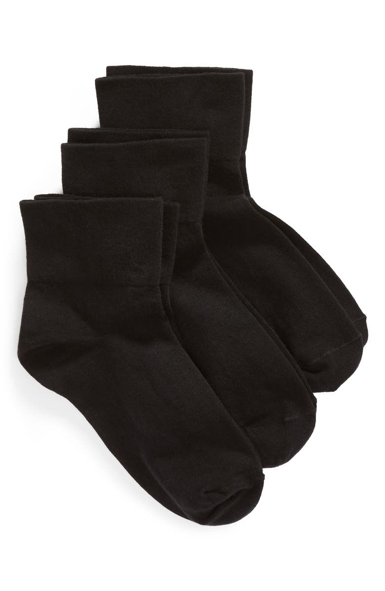 NORDSTROM Everyday 3-Pack Ankle Socks, Main, color, BLACK