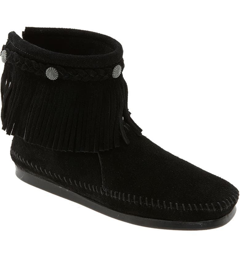 MINNETONKA Fringed Moccasin Bootie, Main, color, 001