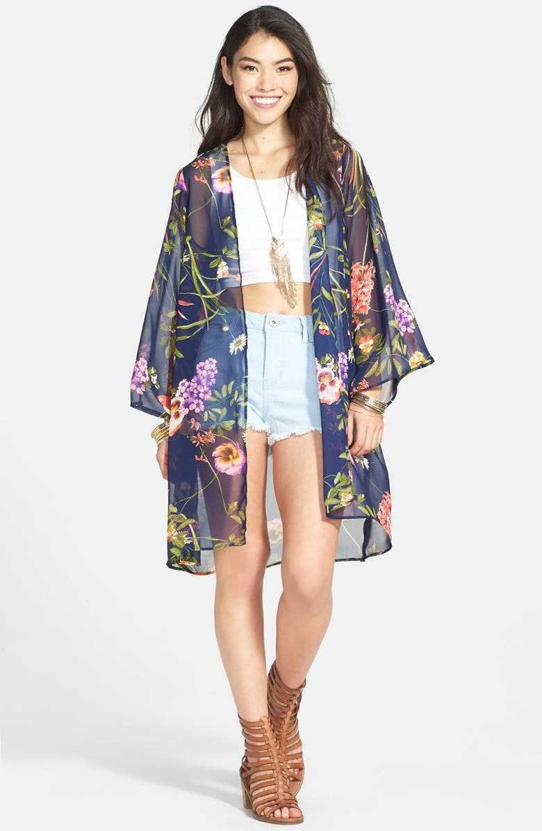 ALL IN FAVOR Print Chiffon Lightweight Jacket, Main, color, FLORAL PRINT