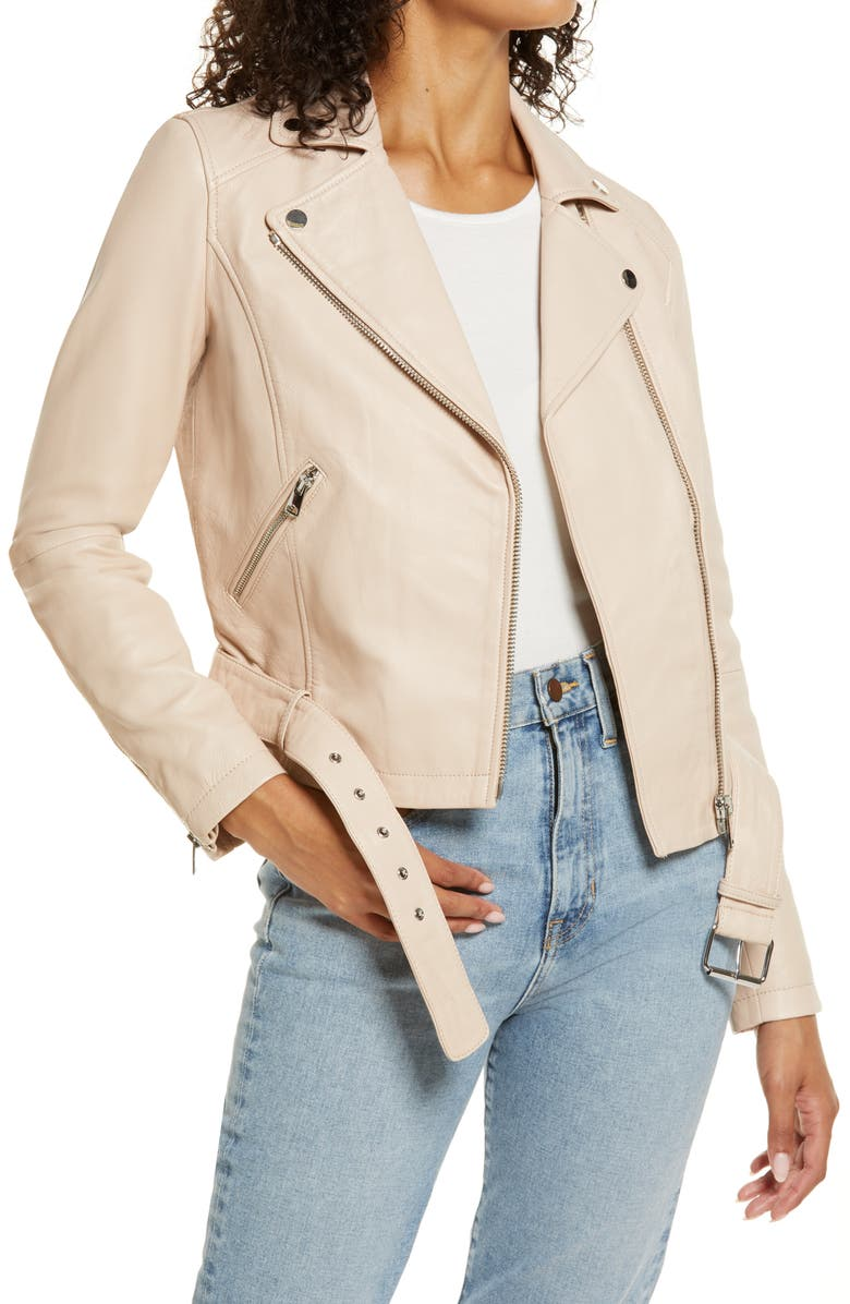 RACHEL PARCELL Leather Moto Jacket, Main, color, 660