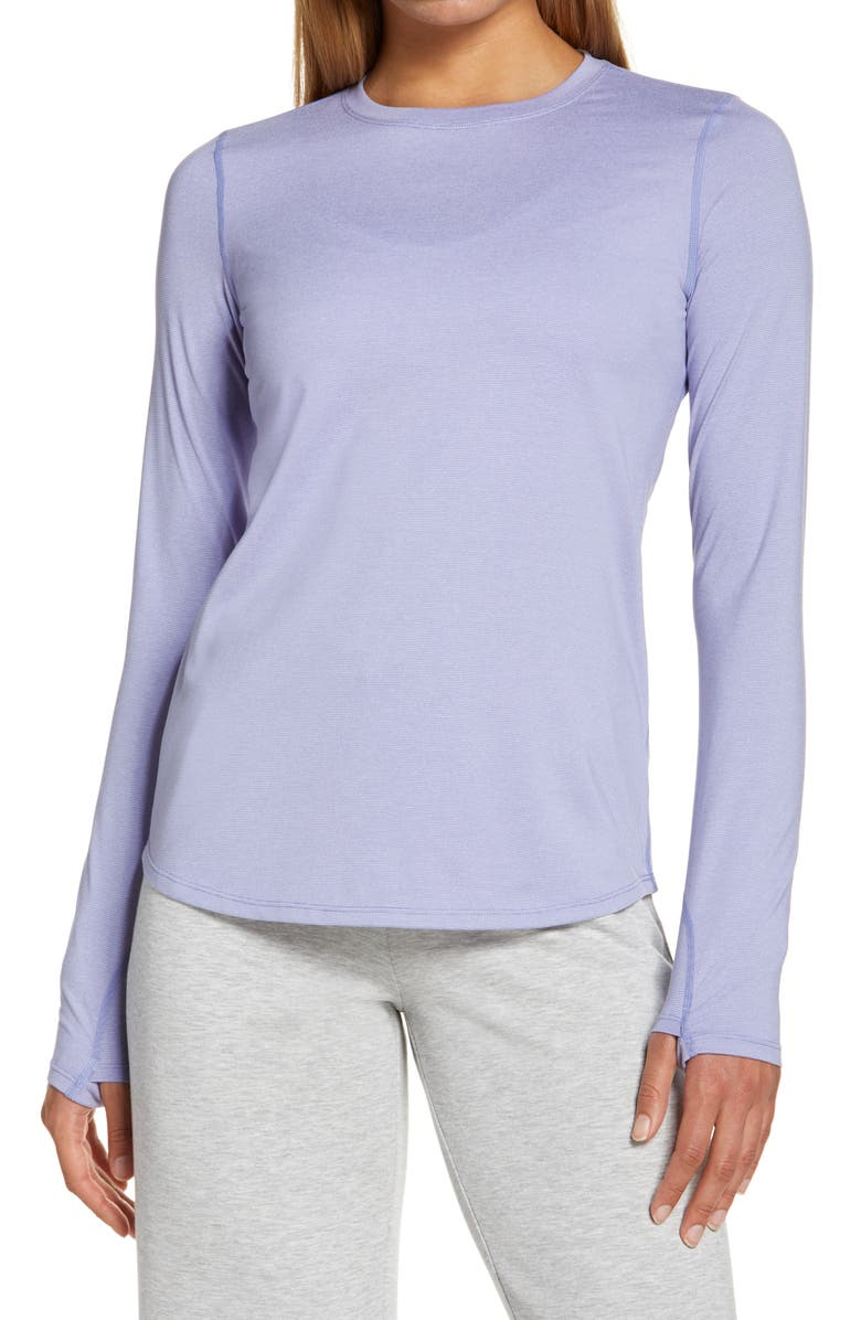 ZELLA Gen Long Sleeve Performance T-Shirt, Main, color, BLUE THISTLE