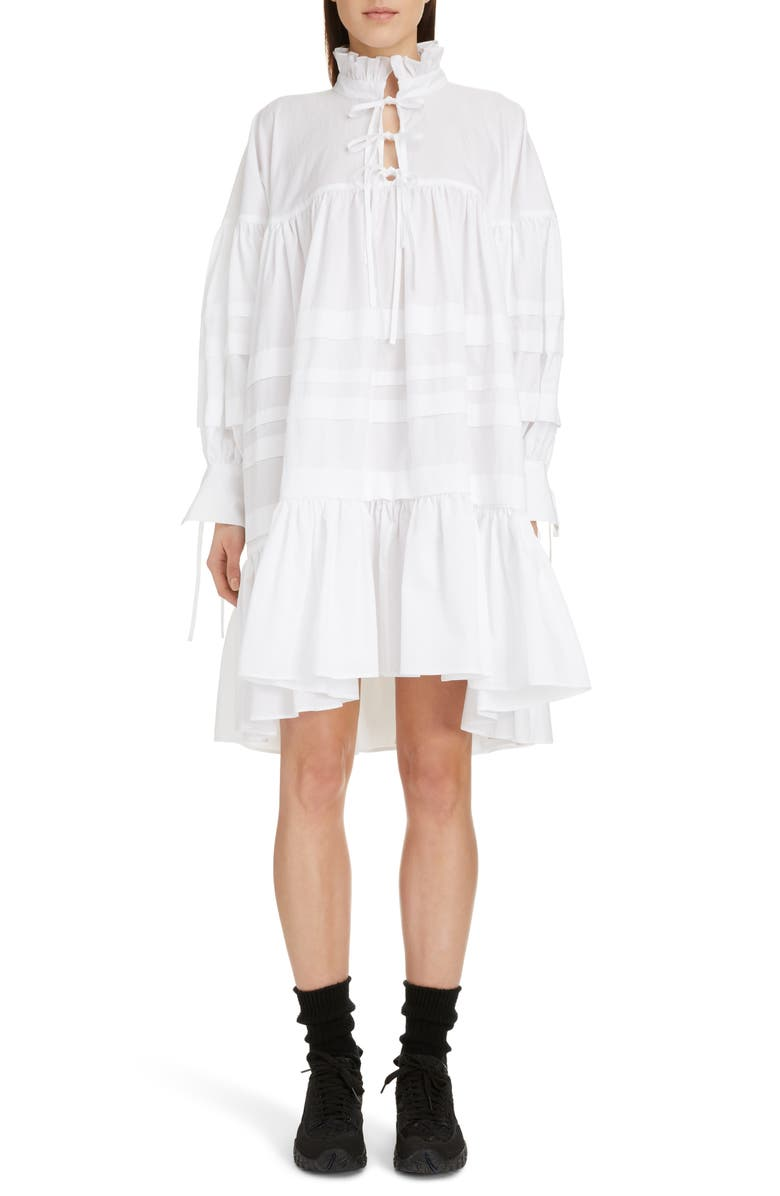 CECILIE BAHNSEN Macy Pleated Oversized Shirtdress, Main, color, 100