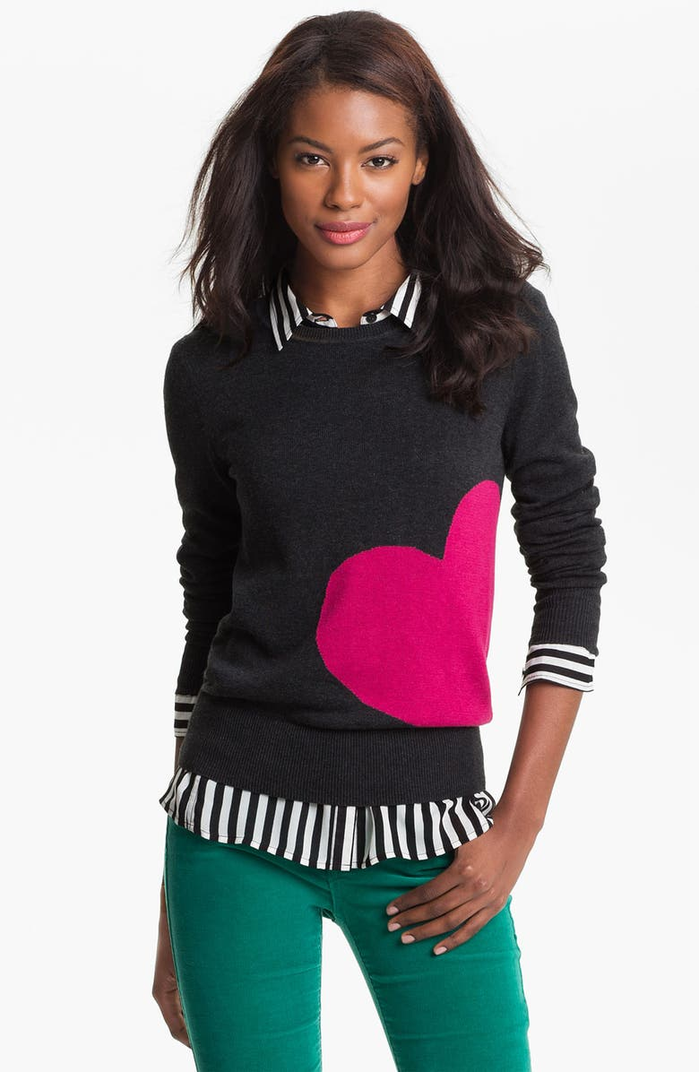 CASLON<SUP>®</SUP> Patterned Crewneck Sweater, Main, color, HEATHER CHARCOAL/ RED HEART