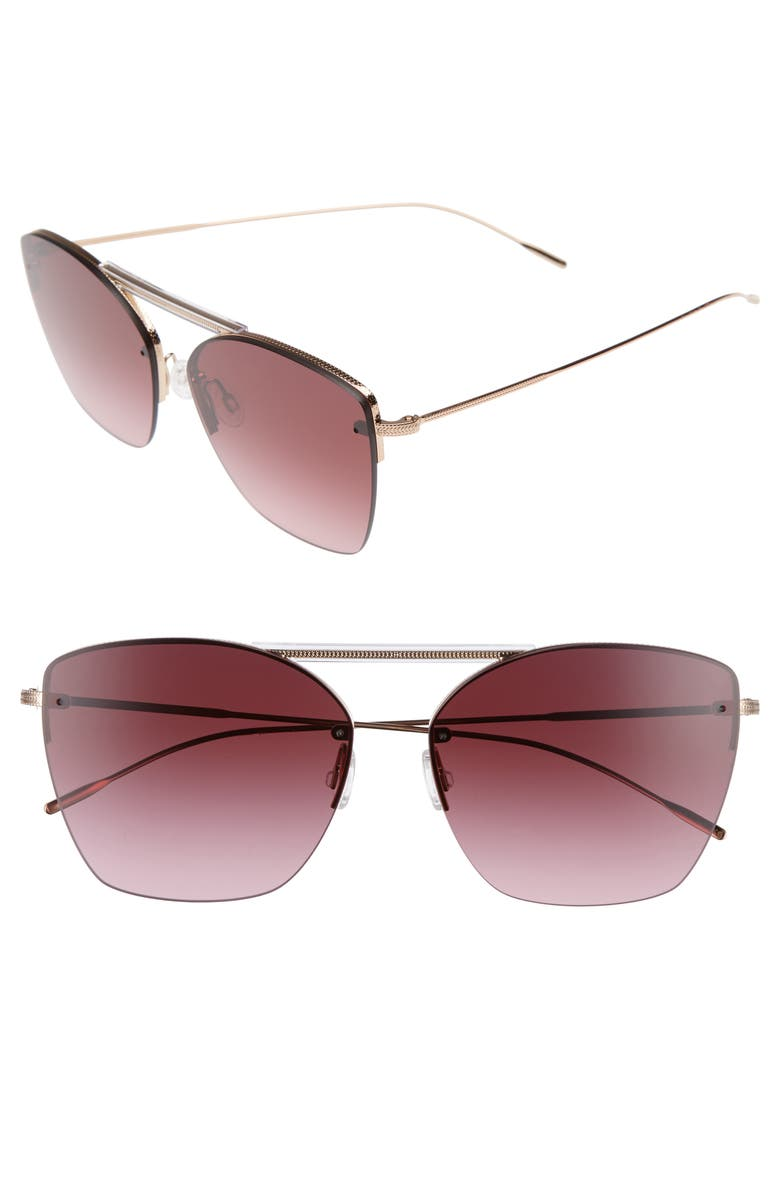 OLIVER PEOPLES Ziane 61mm Rimless Sunglasses, Main, color, MARSALA
