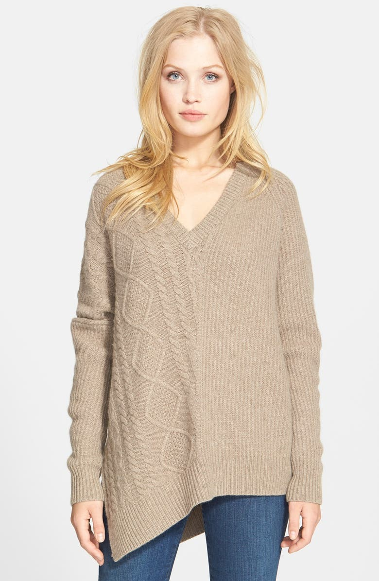 AUTUMN CASHMERE Asymmetrical Cable Knit Sweater, Main, color, 272