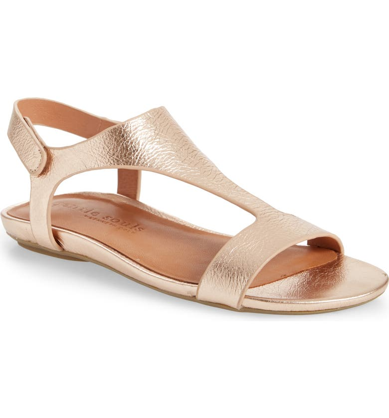 GENTLE SOULS BY KENNETH COLE Lark T-Strap Sandal, Main, color, ROSE GOLD METALLIC LEATHER