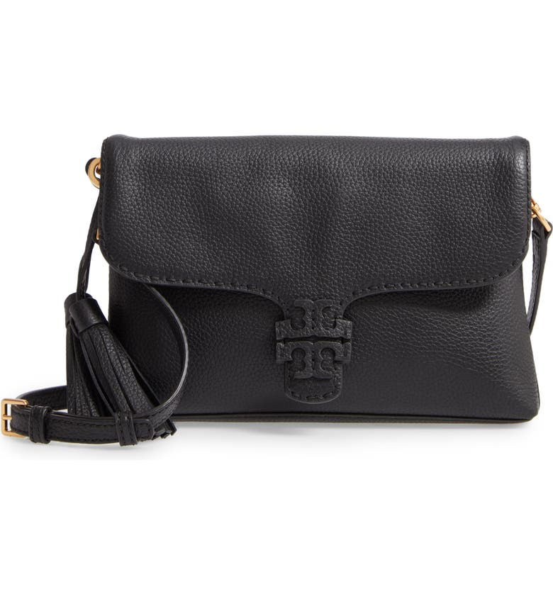 TORY BURCH McGraw Foldover Leather Crossbody, Main, color, 018