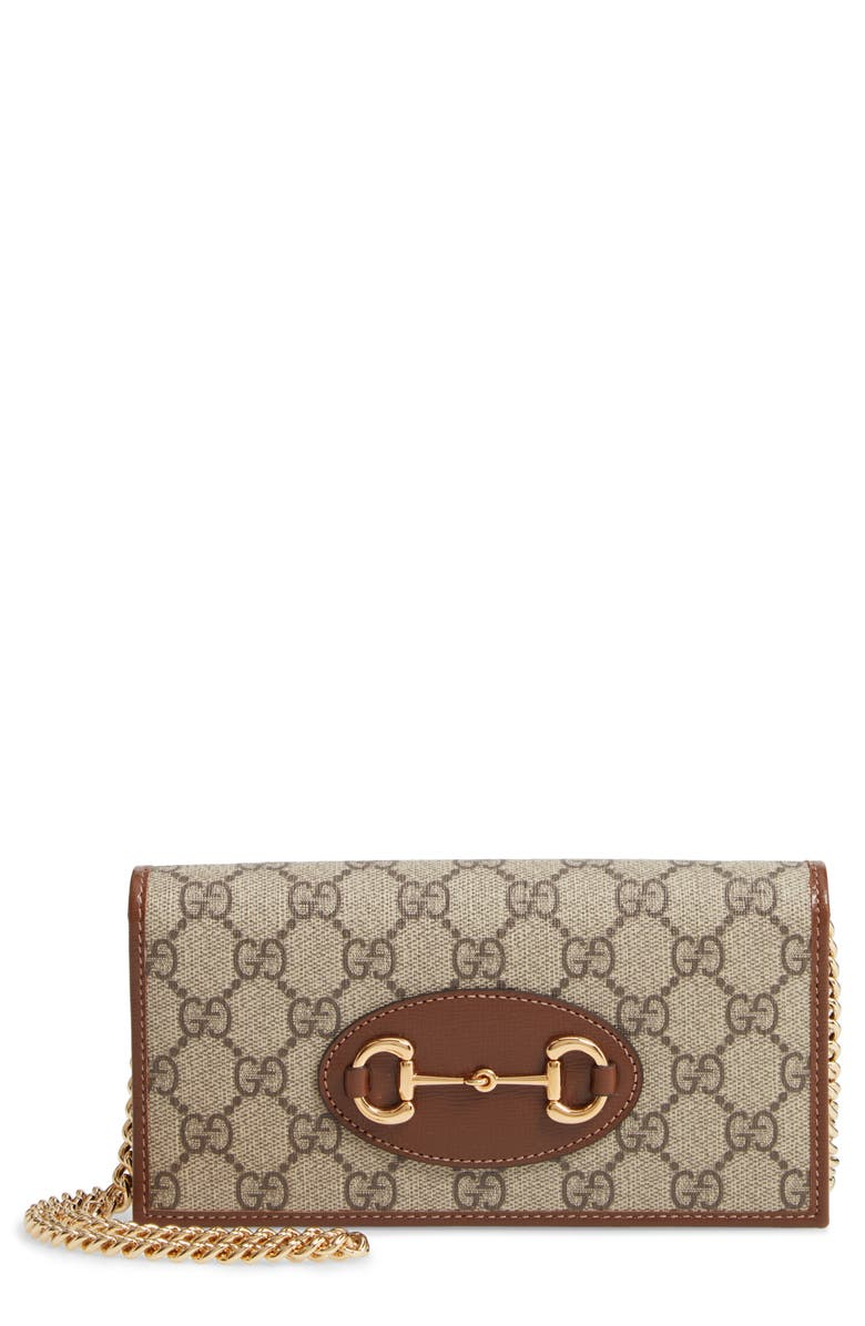 GUCCI 1955 Horsebit GG Supreme Canvas Wallet on a Chain, Main, color, 250
