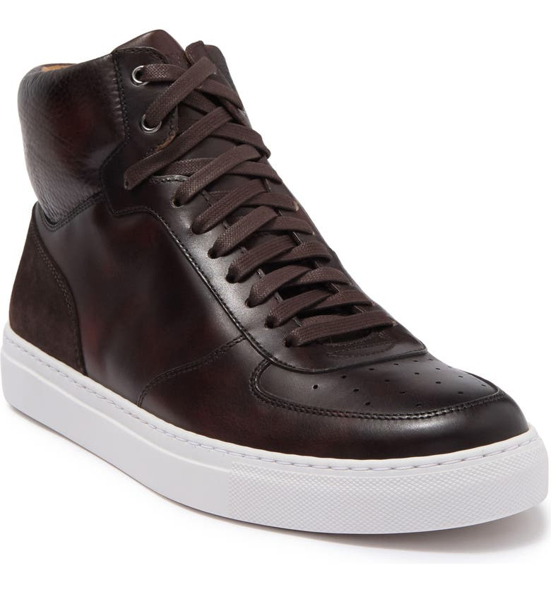 MAGNANNI Royal High Top Sneaker, Main, color, BROWN TEXTURE / BROWN SUEDE