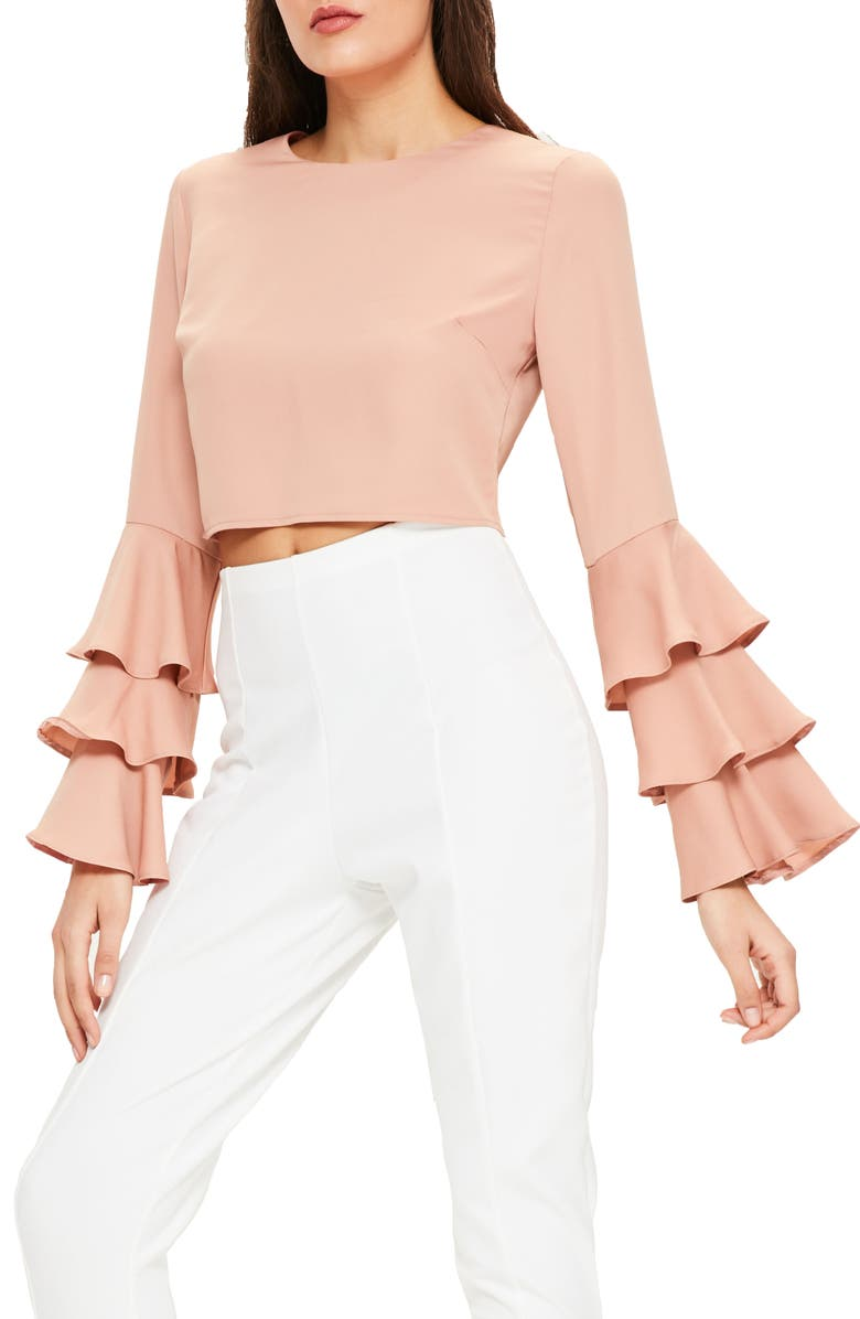 MISSGUIDED Ruffle Crop Blouse, Main, color, 032