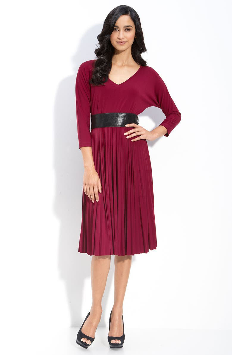DONNA MORGAN Belted Stretch Jersey Dress, Main, color, 625