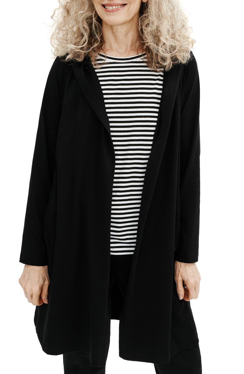 EILEEN FISHER Hooded Open Front Jacket, Main, color, 001